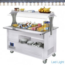 Refrigerated Salad Bar 4x1/1-150 White Wood