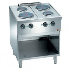 Electric Range, 4 Round Plates On Cupboard
