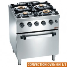 Gas Range 4 Burners, Conv.el.oven Gn 1/1