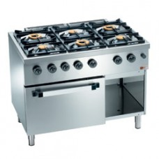 Gas Range, 6 Burners, Gas Oven Gn 2/1 & Cupb