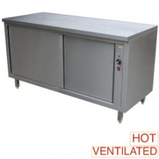 Heated Worktable Cabinet With Sliding Doors